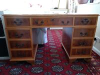 Antique style leather topped captain's desk