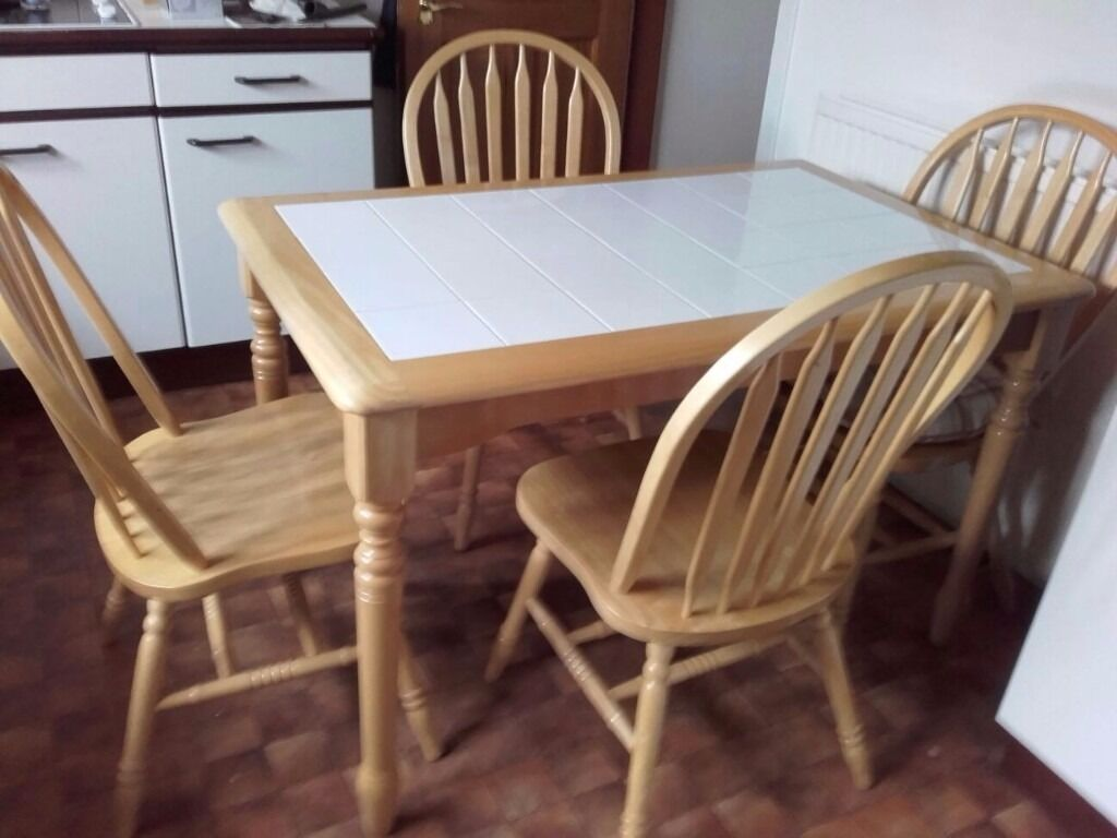 White Tile Top Pine Kitchen Table And 4 Sturdy Curved Back
