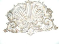VERY ORNATE AND DECORATIVE VINTAGE SHABBY CHIC WALL PEDIMENT