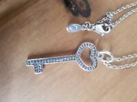 Pandora large/long necklace with key pendant