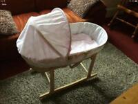 Moses basket and rocking stand. VGC from smoke and pet free home