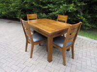 Solid Elm-Wood Table & 4 Chairs