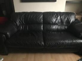 Black Italian leather 3 seater sofa/settee/couch