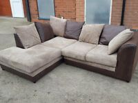 Fabulous brown and beige cord corner sofa. 1 month old. clean and tidy. can deliver