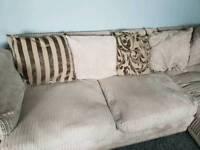 Large dfs beige cord corner sofa