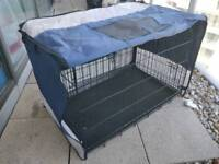 Dog cage with removable cover and tray
