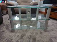 Glass & stainless steel corner tv unit 80 (w) x 45 (d) x 53 (h) cm