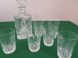 Cut Glass Decanter and 6 Glasses