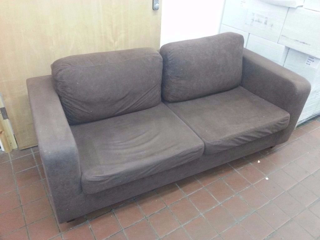 2 x Brown fabric (suede) sofas