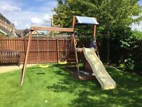 Swing Set with Slide and Climbing Wall
