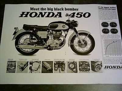 Honda CB 450 Black Bomber Sales Ads & Road Tests Facsimile On 8 Sheets 1966/8