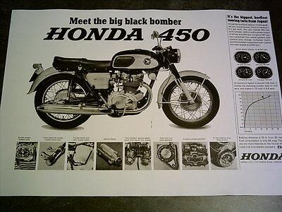 Honda CB 450 Black Bomber Sales Ads & Road Tests Facsimile On 8 Sheets 1966/8