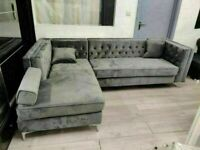 🔵🔴Decore your dreams🔵🔴Florence sofa-plush velvet left/right hand corner sofa-in grey color