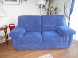 Blue 'suedette' fabric sofa; seats 2-3 people