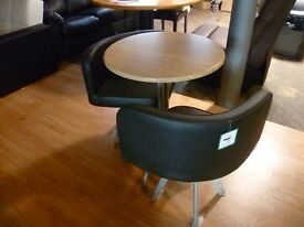 2 Black Faux Leather Patio Chairs and Bistro Table