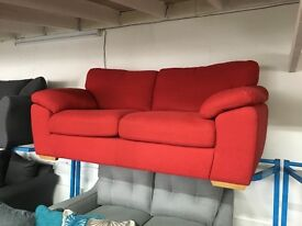 Red real leather corner sofa | in Leeds City Centre, West Yorkshire