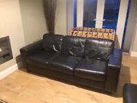 Leather settee & lounger