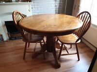 extending table and 3 chairs