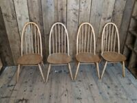 Ercol chairs x4 blue label upcycle? Paint?! natural finish, high hoop, Windsor gplanera
