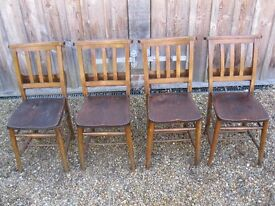 4 OLD CHURCH CHAIRS. Delivery poss. CHAPEL PEWS , PUB BENCHES & MORE DINING CHAIRS FOR SALE.