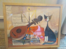 Painting with cat and violin