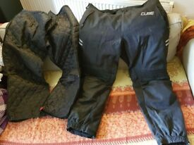 Used Cube 40-4XL short waterproof motorcycle trousers with detachable liner