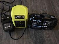 RYOBI ONE 18V battery + charger