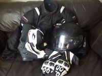 Richa motorcycle clothing full gear includes jacket boots gloves and HJC helmet.