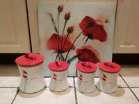 Poppy tea, coffee, sugar and biscuit barrel