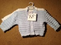 NEW, NEVER WORN. Knitted baby cardigans. Aged 0-3months