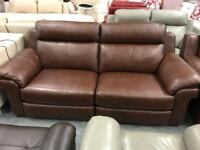 Brown leather electric recliner 3 seater + 2 x Armchairs
