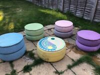 Colourful handmade garden furniture, 4 stools and a table