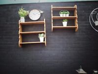 2 SOLID PINE WALL SHELVES VERY SOLID AND IN EXCELLENT CONDITION 70/15/76 cm £25 EACH