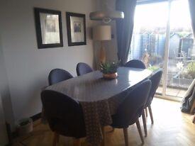 4 grey upholstered dining chairs, Scandinavian range