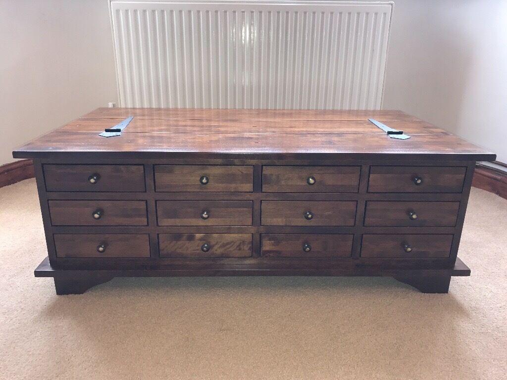 laura ashley 2 unit set: garrat chestnut 12 drawer coffee table