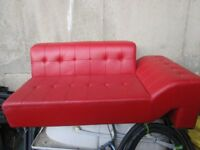 2 x BIG retro red leather sofa & corners, clean .