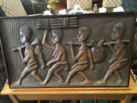 Gorgeous Rare Vintage Hand Carved African Tribal 3-D Solid Wood Carving Wall Hanging Plaque Picture