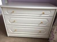 3 Drawer Bedroom Chest - Schreiber- White with Crystal Knobs. Excellent Condition.