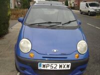 Daewoo Matiz 2002, blue, manual, 94 358mileage, glass roof, electic window, cd player, sony stereo