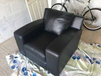 Brand new unused Black leather armchair
