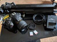 Nikon D3300 DSLR 18-55mm kit lens plus 2x16Gb SDHC camera bag and tripod