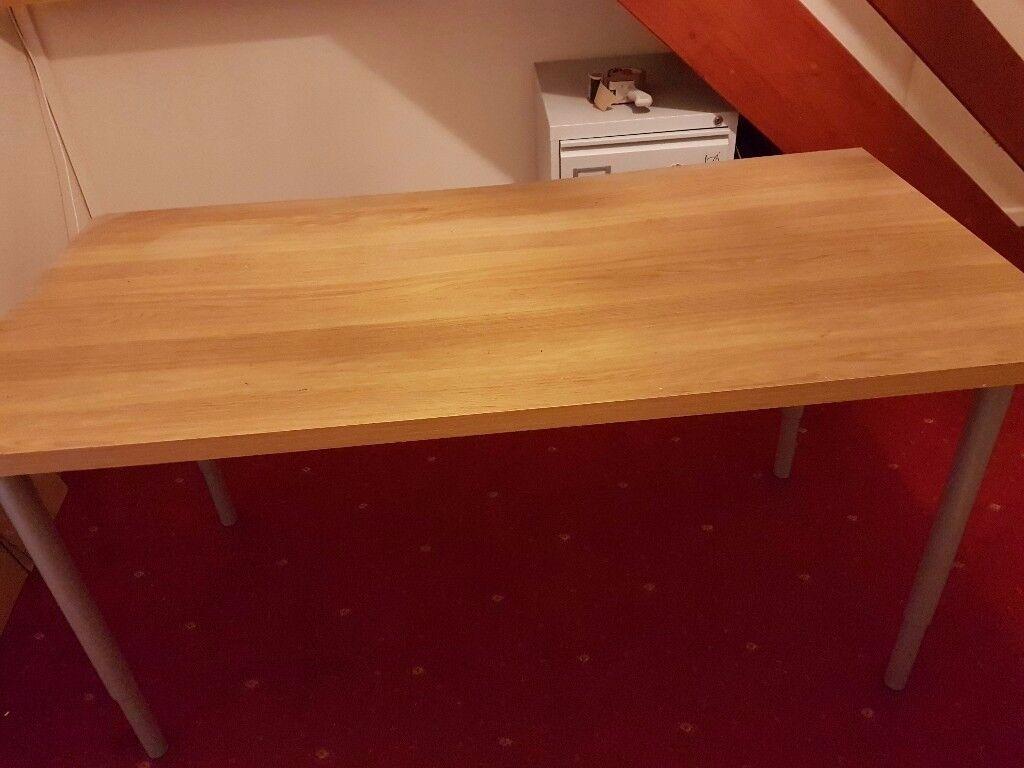 IKEA Beech effect 5ft desk with adjustable legs