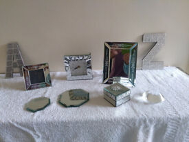 Set of various mirrored decorative ornaments