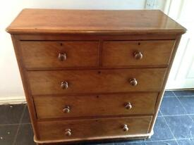 Victorian satin birch large 5 draw chest of draws