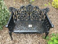 3. Rose and leaf cast iron garden bench (Patio 2 seater)