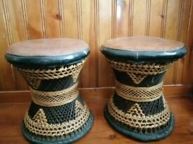 UNUSUAL LEATHER TOPPED WICKER CHILD'S CHAIRS? FOOTSTOOLS? c1970's