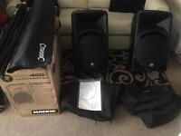 mackie srm450 v2 monitors new with stands and speaker bags
