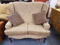 Lovely two seater wingback sofa with scatter cushions, excellent quality and condition