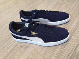 Brand New Navy Puma Suede Classic Trainers Size 8 - Never Worn