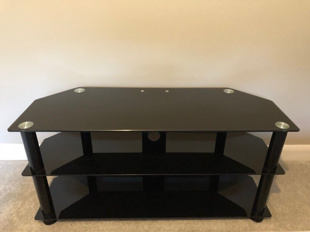 Excellent Condition Black Glass 32 50 Inch Tv Stand Modern Table